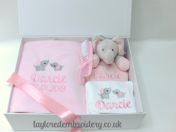Personalised Baby Girl Gift Set, Embroidered Blanket, Comforter, Vest/Bodysuit, Personalised Gift Box, New Baby Gift, Unique , Christening