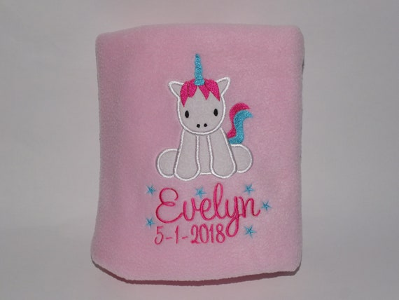 Personalised Blanket, Baby Girl Blanket, Unicorn Blanket, Receiving Blanket, Custom Blanket, Embroidered, New Baby Gift, Christening Gift