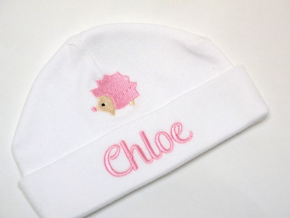 Personalised Embroidered Baby Beanie Hat, Cute Hedgehog and Babies Name, New Baby Gift, Baby Hat, Baby Shower Gift
