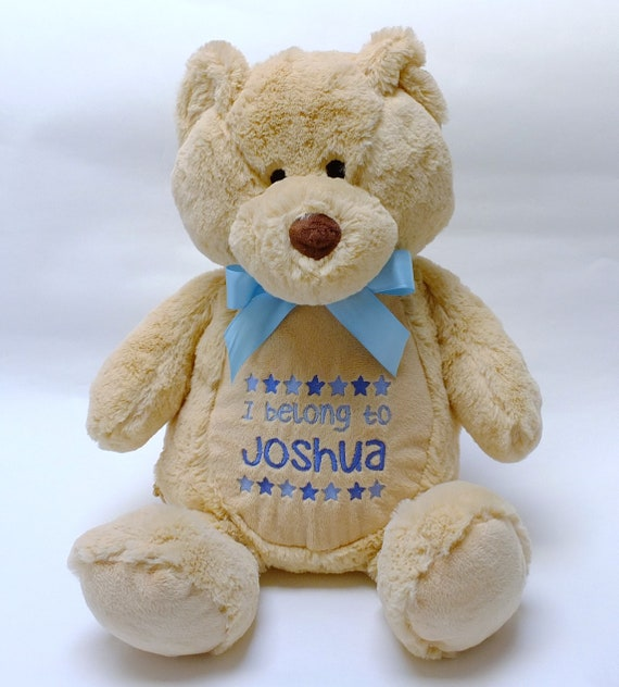 Personalised Teddy Bear, Embroidered Baby Gift, Christening Gift, Personalised Soft Toy, Baby Shower Gift