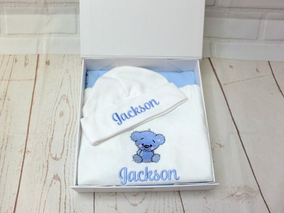 Personalised Baby Boy Gift Set, Cotton Blanket, Bodysuit/Vest, Hat, Gift Boxed, New Baby Boy Gift, Christening Gift, Embroidered Baby Gift