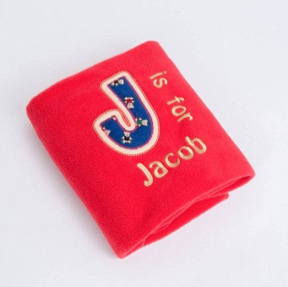 Personalised Fleece Blanket, Embroidered Gift, Christening Gift, Newborn Baby Boy Gift , Red Blanket, Nursery  Blanket,