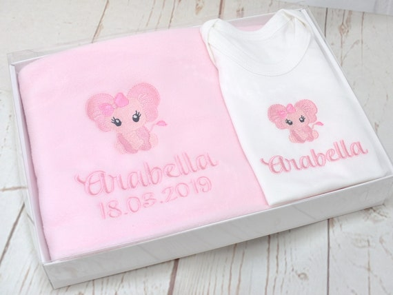 Baby Coming Home Gift Set, New Baby Girl Blanket and Bodysuit, Baby Girl Gift Set, Personalised Blanket /Bodysuit, Gift Boxed, Embroidered