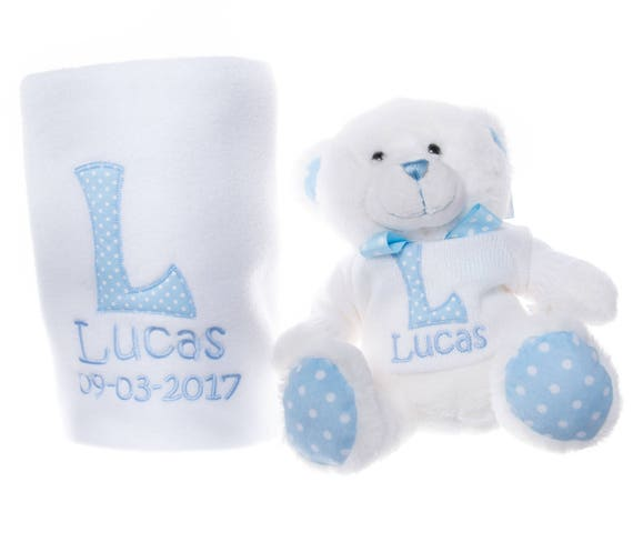 Personalised Embroidered Baby Boy Blanket With Matching Teddy Bear Soft Toy