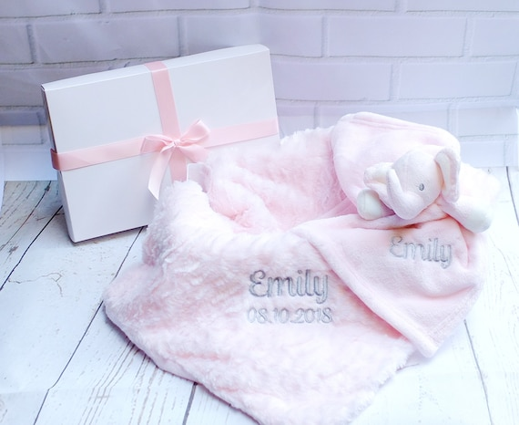 Personalised Baby Girl Blanket and Comforter Boxed Gift Set Embroidered Blanket and Comforter