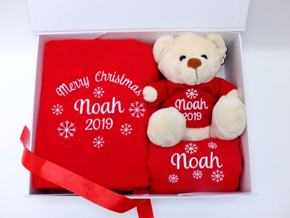 Personalised Baby Christmas Gift Set, Fleece Blanket, Teddy Bear with Personalised Jumper and Bib, Gift Boxed, Unique Christmas Gift,