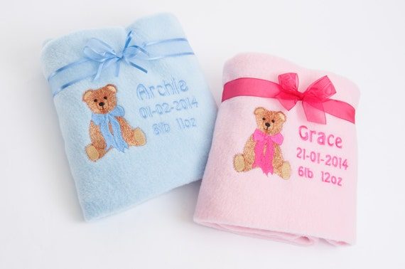 Personalised Baby Blanket Fleece Embroidered Christening  Newborn Gift Boy/Girl