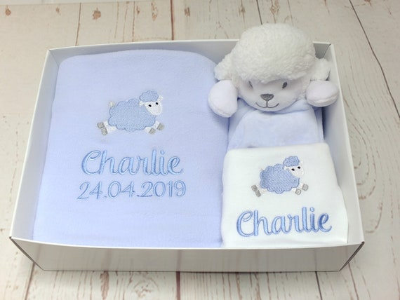 Personalised Embroidered Baby Boy Gift Set, Blanket, Bodysuit/Vest, Lamb Comforter, Gift Boxed