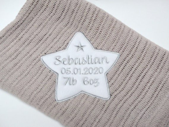 Personalised Grey Cotton Cellular Blanket, Embroidered Baby Blanket, Embroidered Star With Babies Birth Details, New Baby Gift