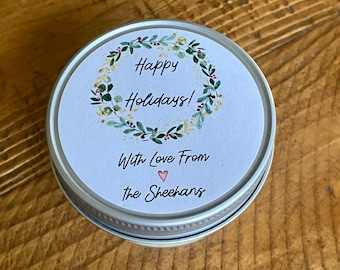 Holiday Candles, Christmas Candles, Christmas party favors, Soy Candles, Personalized holiday gift, Christmas Gift, Candle favors, Christmas