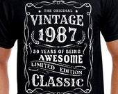 30th Birthday Gift T Shirt For Brother Son Uncle Friend Boss Turning 30 Funny Vintage Age Years Old Born 1987 Bday Husband Tshirt Tee