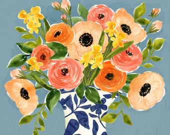 Peachy Posy | watercolor floral bouquet | Art Print