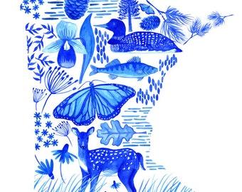 Land of 10,000 Lakes - Minnesota watercolor art print