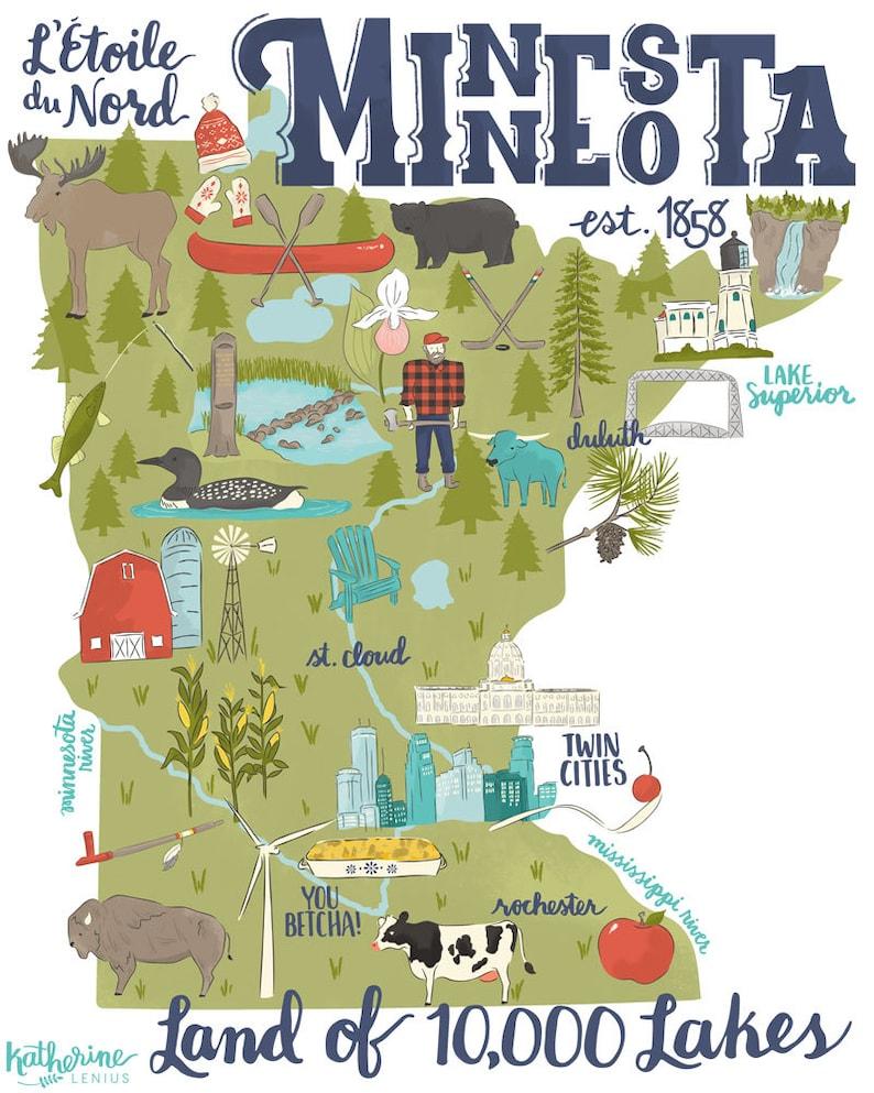 Land of 10000 Lakes  Illustrated Minnesota Map  Art Print image 1