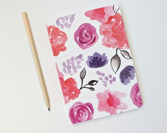 Journal | Pink Watercolor Floral | 100 page lined notebook