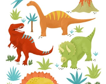 Dynamite Dinos | Children's Dinosaur Art Print