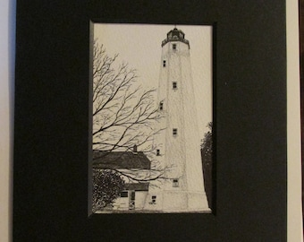 Sandy Hook Lighthouse Pen and Ink print by Dawn K Hitchner Darminio 2010