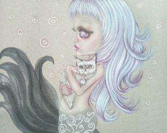 The mermaid and the Kitten Oeiginal Illustration Lowbrow art Pop surrealist Bigeyes