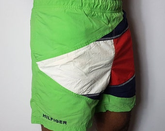 Tommy Hilfiger Flag Logo Bathing Suit Shorts Hilfiger Swimming Trunks - Retro Vintage 90's Hip Hop Streetwear - FREE SHIPPING