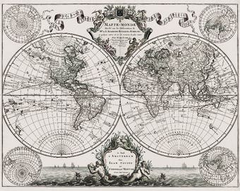 World map print lisles 1720 guillaume de lisles 1720 old world map historic map antique style world map guillaume de lisle mappe monde wall map vintage map 14 x 11 gumiabroncs