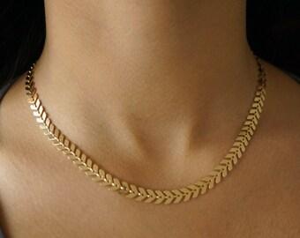 Chevron Necklace, Gold, Rose Gold, Silver, Fishbone Collar Necklace, Statement, Arrow, Tattoo, Wedding, Best Friend, Boho, Anniversary Gift