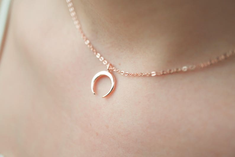 Mothers Day Half Moon Necklace Minimalist Horn Necklace Rose Gold Necklace Upside Down Moon Silver Choker Gold Horn Necklace BFF