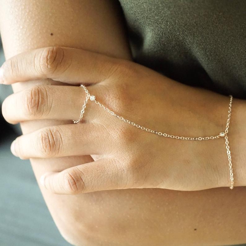 99e14542287 Rose Gold CZ Hand Harness Slave Bracelet Handlet Wedding