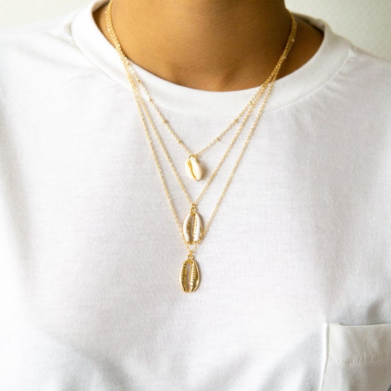 layered necklaces cowrie shell set Shell jewelry set