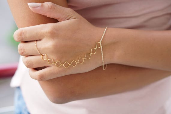 Gold Diamond Slave Bracelet Ring Finger Bracelet Hand Chain Etsy