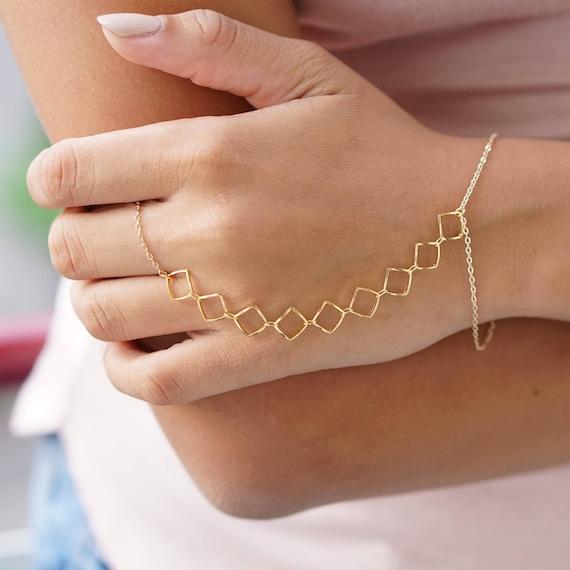 Nickel free multi layer hand bracelet handmade Multistrand Gold slave bracelet hand chain multilayered gold heart bracelet ring