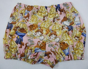 beauty and the beast bloomer or shorts,princess diaper cover,belle bloomer diaper cover,princess baby,princess bloomer,belle baby