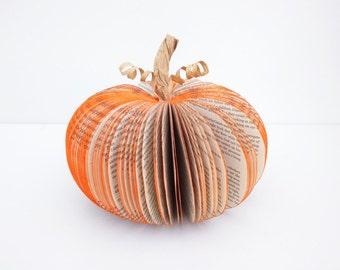 Pumpkin decoration - Halloween Decor - Book pumpkin -  Large -  Book Art