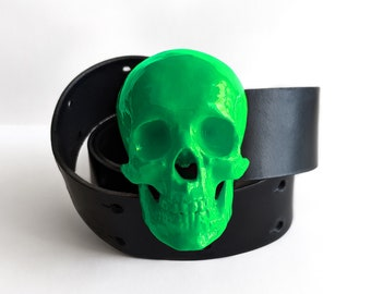High Gloss Skull Belt in Toxic Green   Handmade Fashion Belts