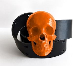 High Gloss Skull Belt in Deviant Orange   Handmade Fashion Belts