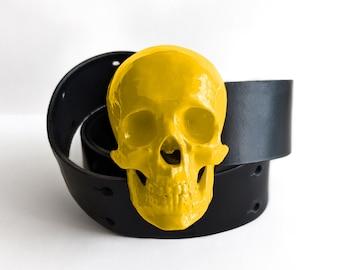 High Gloss Skull Belt in Mustard Yellow   Handmade Fashion Belts