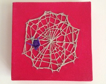Woven Canvas Art - Red w. Red Web Weave and Crane (10cm X 10cm small square)