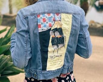 Ariel and her dinglehopper Custom Kids Jacket; Custom denim jacket; painted denim jacket; hand painted jacket