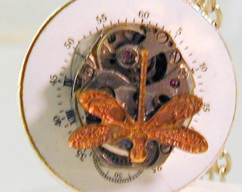 Steampunk Art Deco Watch Dial & Vintage Watch Movement with Dragonfly Pendant with Chain OOAK