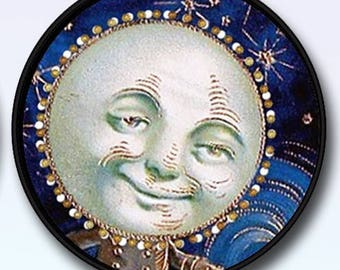 """Fantasy Smiling Moon Man Picture Pendant Necklace 1""""/1.5"""" with Chain 12.00+"""