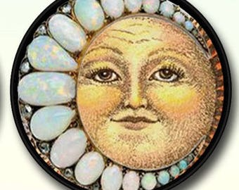 """Fantasy Opal Moon Picture Pendant Necklace  1""""/1.5"""" with Chain 12.00+"""