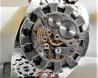 Steampunk Big Bold Gears & Watch Movement Bracelet  OOAK