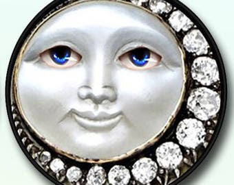 """Fantasy Full Moon with Diamonds Picture Pendant Necklace 1""""/1.5"""" with Chain 12.00+"""