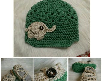 Elephant Newsboy Hat and Double Strap Mary Janes: 6-9 months
