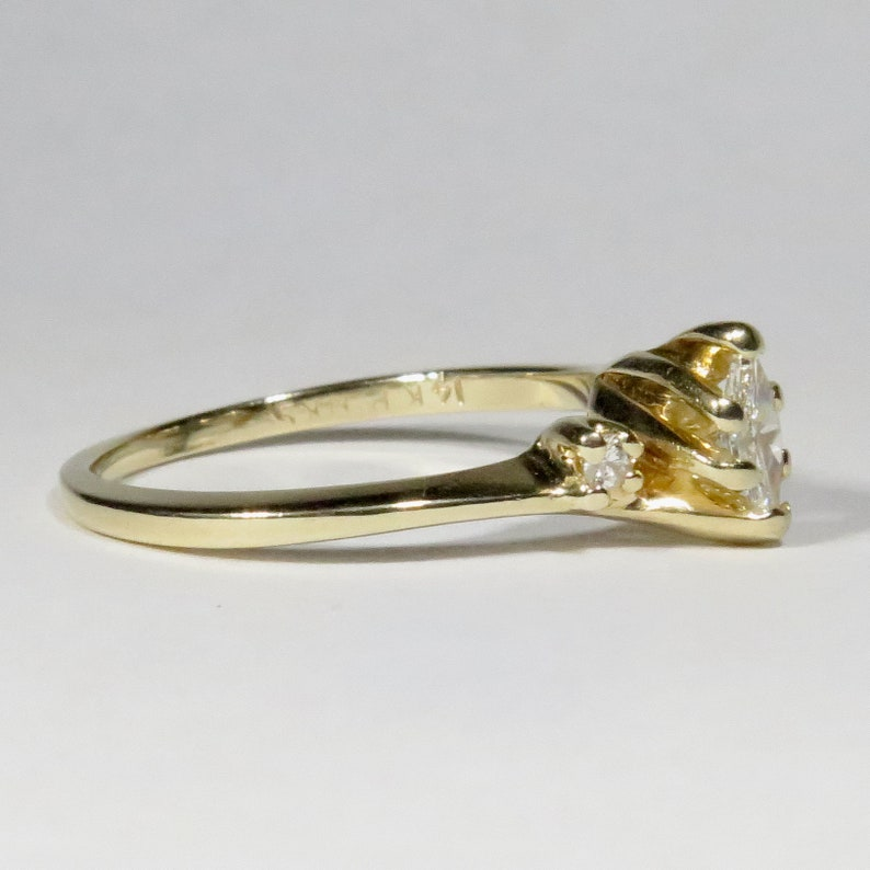 Vintage 14K Gold Bypass Marquis 0.30 CTW Diamond Solitaire Engagement Ring