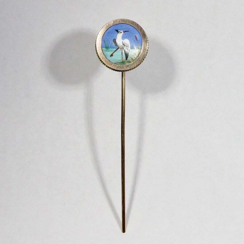 Antique Victorian Hand-Painted Porcelain Miniature SHOREBIRD Shore Bird Stick Pin ET1903E
