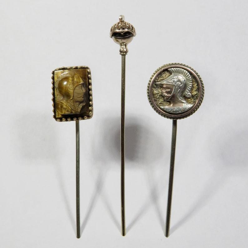 Antique Edwardian Art Deco Roman Gladiator Soldier Stick Pin Lot
