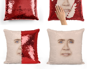 Nicolas Cage face sequin pillow | sequin Pillowcase | Two color pillow | gift for her | gift for him | pillow | magic pillow 10M007