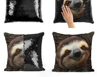 a38d2b08a75 Sloth face sequin pillow