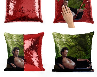 Jeff Goldblum topless sequin pillow | sequin Pillowcase | Two color pillow | gift for her | gift for him | pillow | magic pillow 10M003