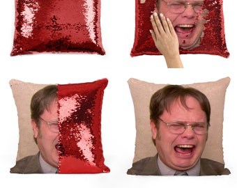 Dwight Schrute laughing sequin pillow | sequin Pillowcase | Two color pillow | gift for her | gift for him | pillow | magic pillow 10M042